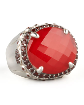 Faceted Garnet Dome Ring