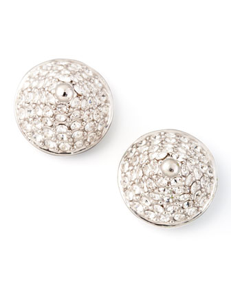 Pave Crystal Cone-Stud Earrings, Silver