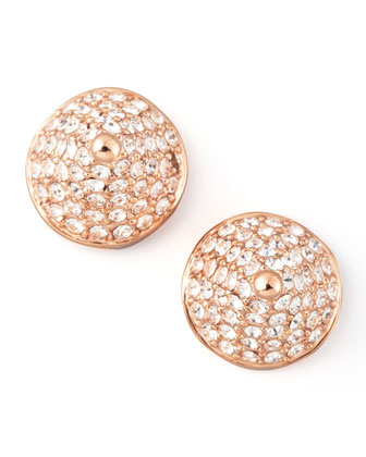 Pave Crystal Cone-Stud Earrings, Rose Gold