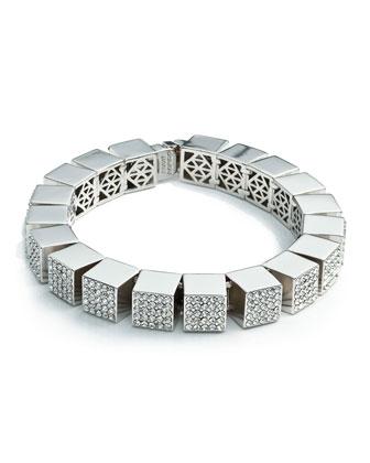 Pave Cube Bracelet, Silver