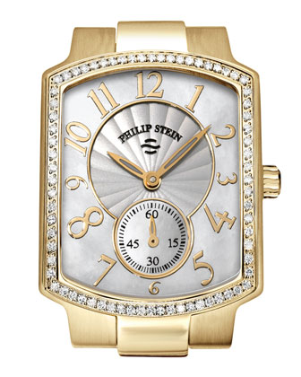 Small Classic Gold-Plated Diamond Watch Head & Gold-Plated Diamond Bracelet