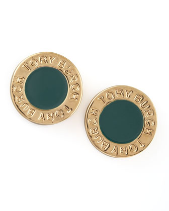 Cole Logo Stud Earrings, Green