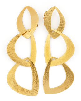 Herve Van Der Straeten Linked Leaf Clip Earrings