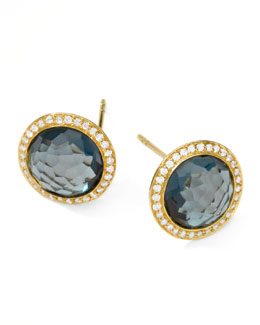 Ippolita Rock Candy 18k Gold Lollipop  Diamond Stud Earrings, London Blue Topaz