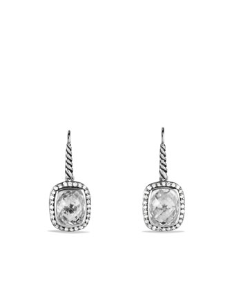 Noblesse Drop Earrings with White Topaz and Diamonds
