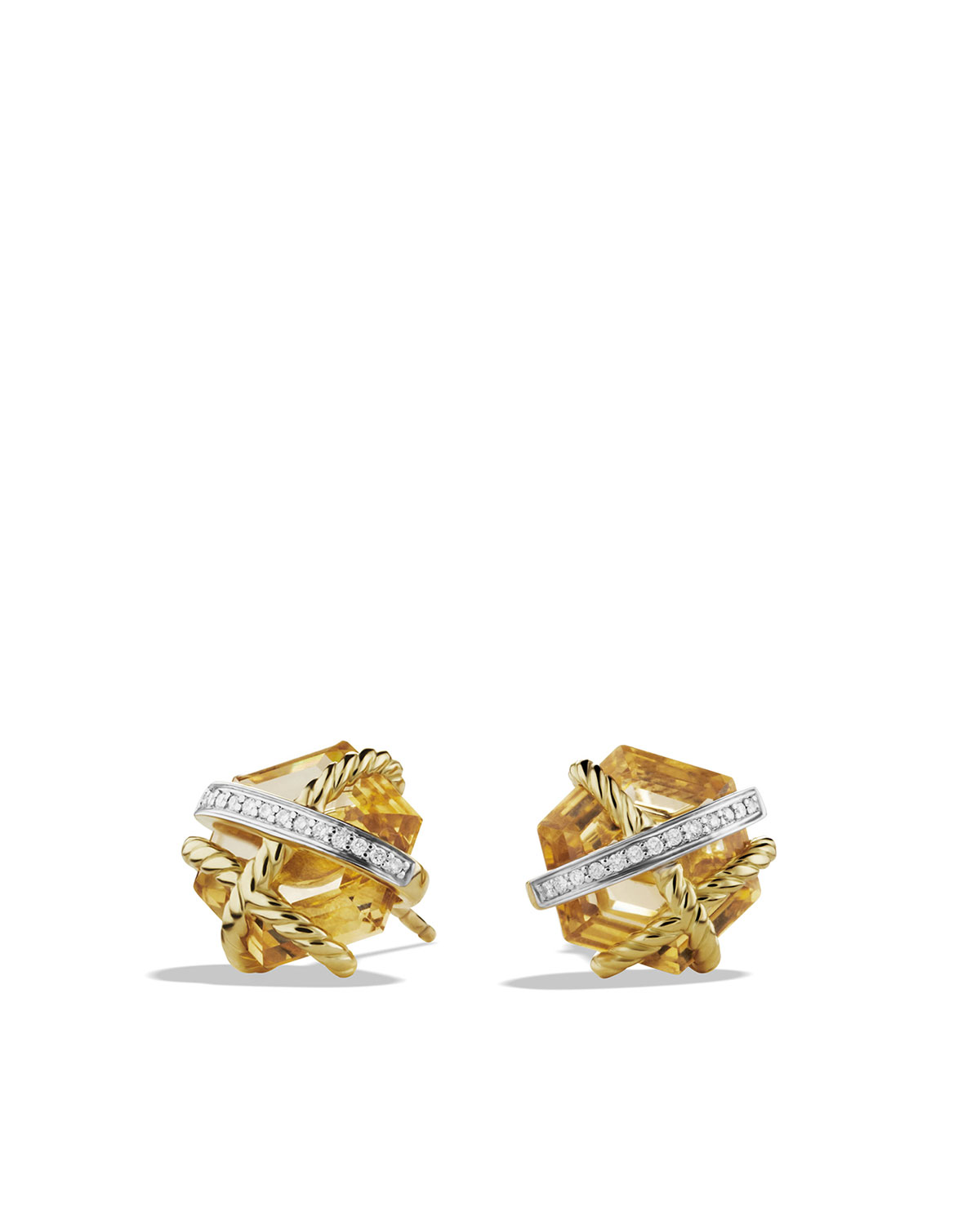 Cable Wrap Earrings, Champagne Citrine, 10mm