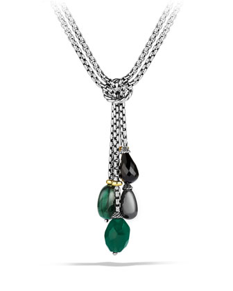 Bead Tassel Necklace with Green Onyx, Hematine, and Gold