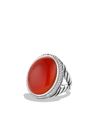 DY Signature Oval Ring with Carnelian and Diamonds