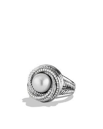 Pearl Crossover Ring with Diamonds