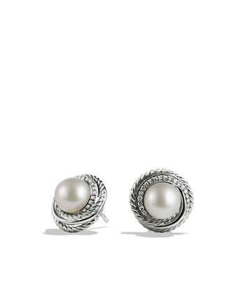 Pearl Crossover Earrings with Diamonds