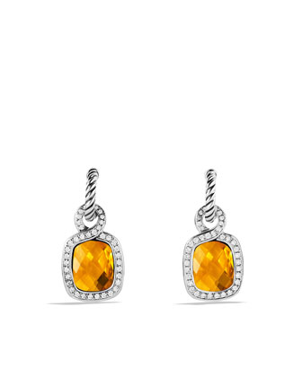 Labyrinth Drop Earrings with Citrine and Diamonds