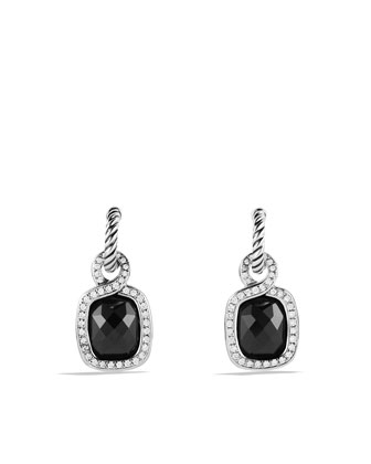 Labyrinth Drop Earrings with Black Onyx and Diamonds