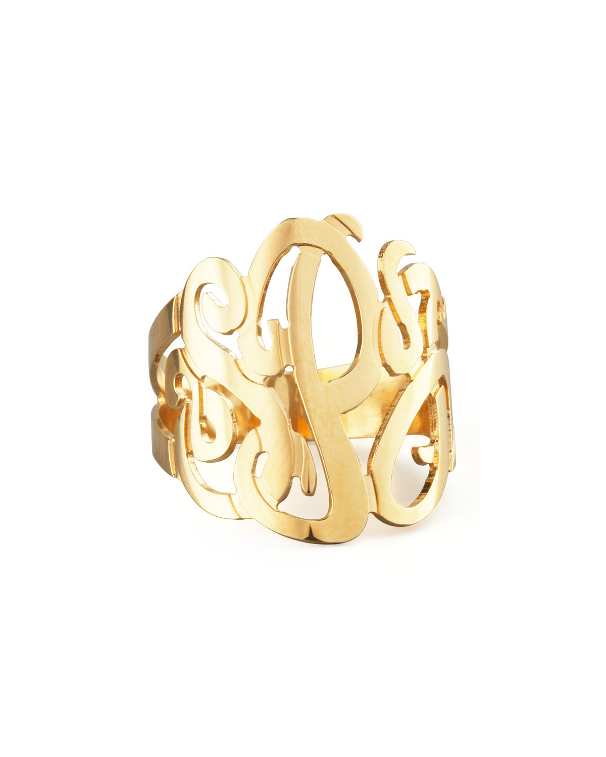 Three-Initial Monogram Ring, Size: 6, GOLD - Jennifer Zeuner