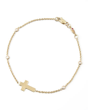 Integrated Cross Diamond Bracelet, Yellow Gold