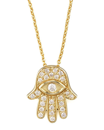 Gold Hamsa Pendant Necklace