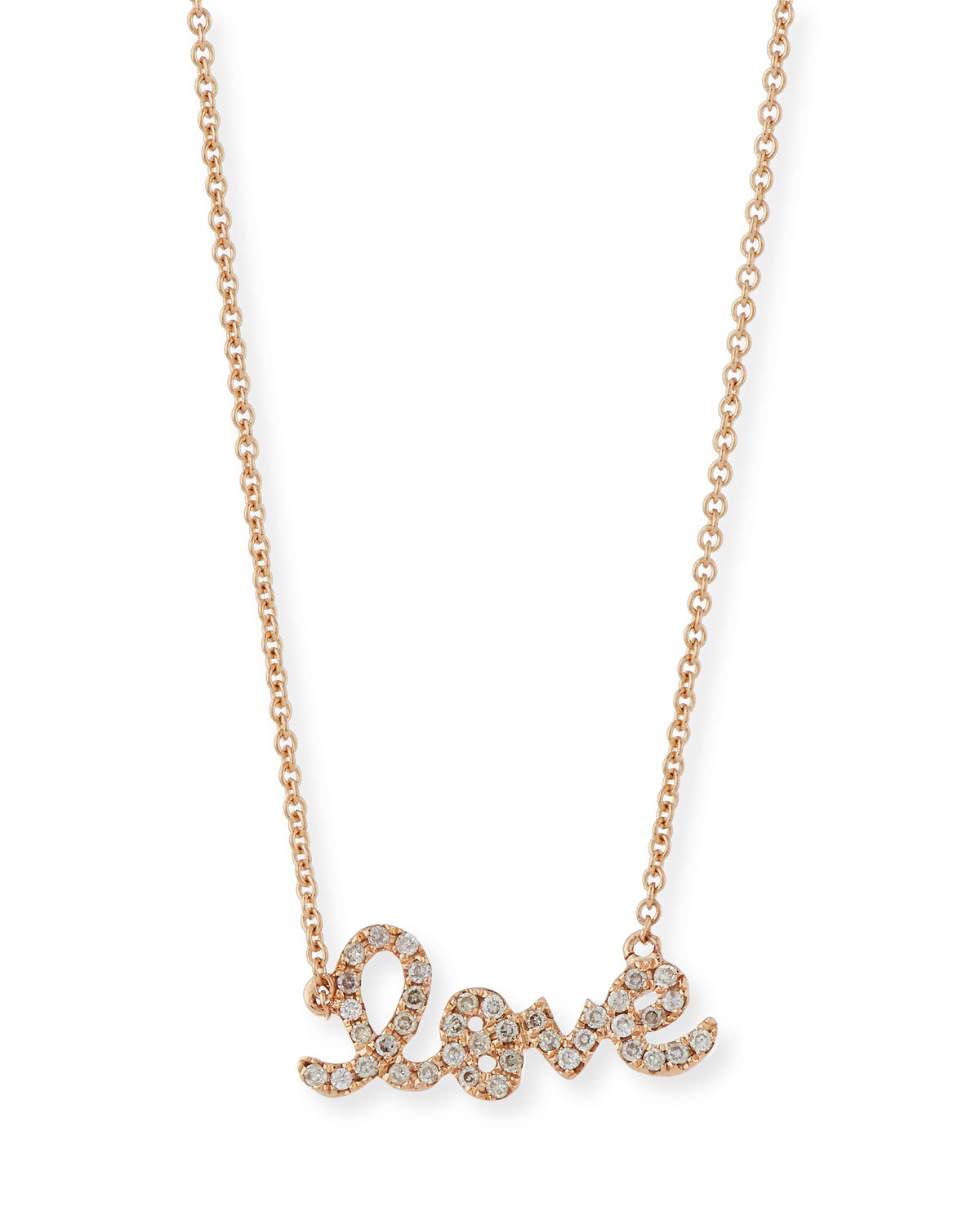 Rose Gold Diamond Love Necklace, Small - Sydney Evan
