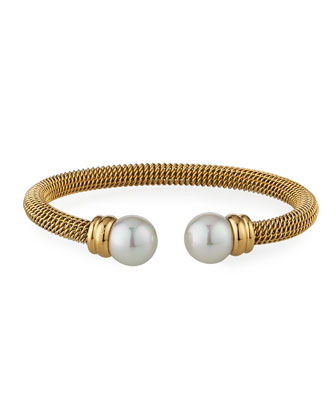 Pearl-Cap Bangle, Yellow Gold