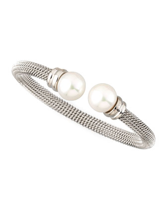 White Pearl-Cap Bangle, Silver