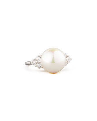 White Pearl & Cubic Zirconia Ring