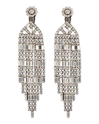 Crystal Chandelier Clip Earrings