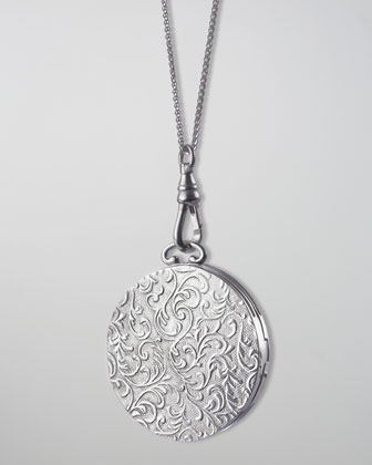 Round Vine-Carved Locket Necklace