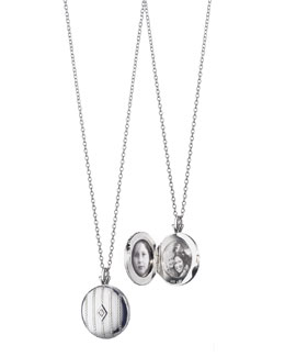 Monica Rich Kosann Pinstripe Diamond Locket Necklace