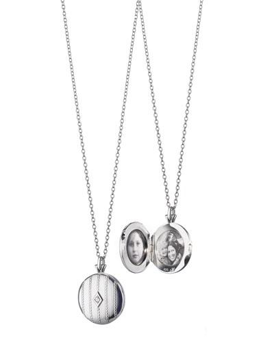 Monica Rich Kosann Pinstripe Diamond Locket Necklace