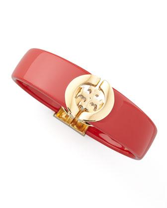 Logo-Hinge Enamel Bracelet, Red
