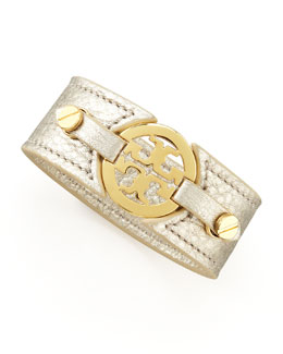 Tory Burch Metallic Logo Double-Snap Cuff, Platinum