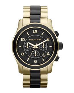 Michael Kors Black and Golden Stainless Steel Runway Chronograph Watch