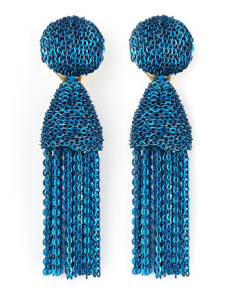 Short Chain Tassel Earrings, Blue
