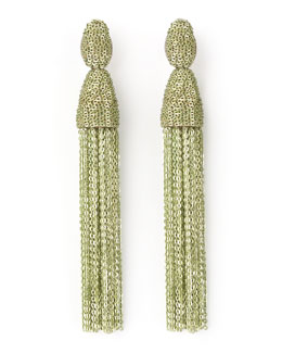 Oscar de la Renta Long Chain Tassel Earrings, Green