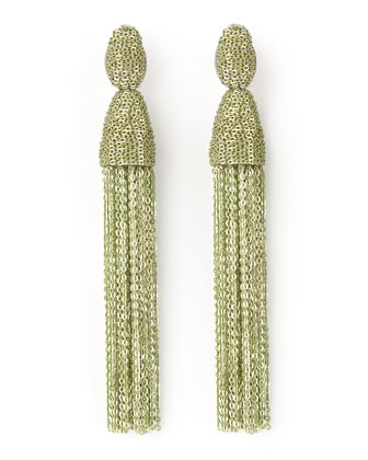 Long Chain Tassel Earrings, Green
