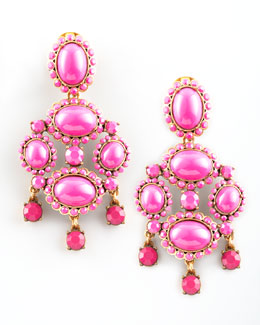 Oscar de la Renta Cabochon Drop Clip Earrings, Fuchsia