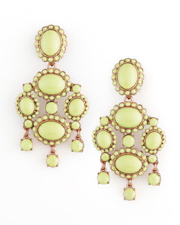 Oscar de la Renta Cabochon Drop Clip Earrings, Bright Green