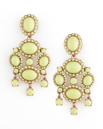 Cabochon Drop Clip Earrings, Bright Green