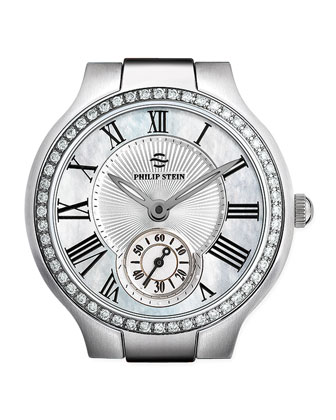 Small Round Mother-of-Pearl Diamond Watch Head & Stainless Steel Diamond ...