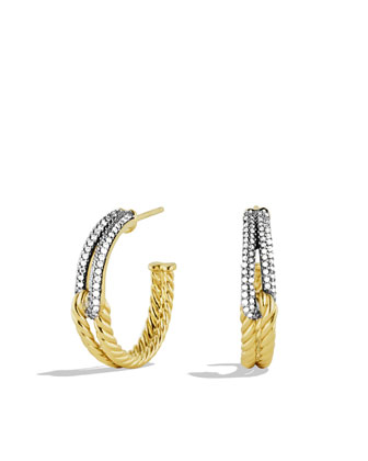 Labyrinth Hoop Earrings with Diamonds in Gold