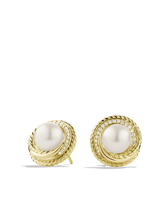 Pearl Crossover Earrings with Diamonds in Gold