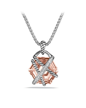 Cable Wrap Pendant with Morganite and Diamonds in Gold on Chain