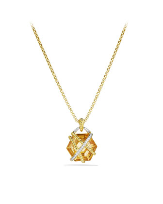 Cable Wrap Pendant with Champagne Citrine and Diamonds in Gold on Chain ...