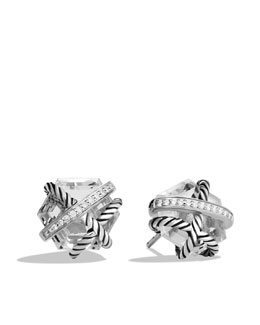 David Yurman Cable Wrap Earrings, Crystal, 10mm