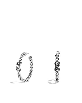 X Hoop Earrings with Diamonds
