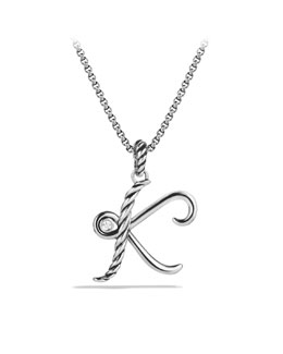 David Yurman Cable Collectibles Initial Charm, K, Diamond