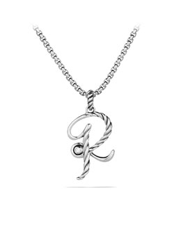 David Yurman Cable Collectibles Initial Charm, R, Diamond