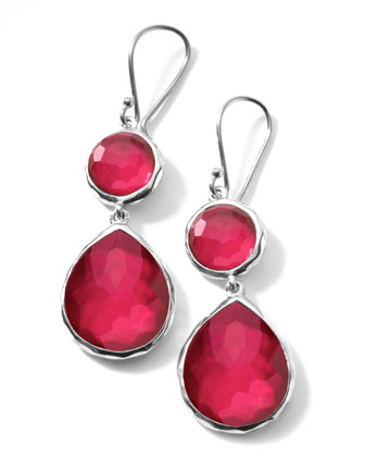 Raspberry Doublet Teardrop Earrings