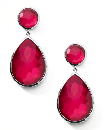 Raspberry Teardrop Post Earrings