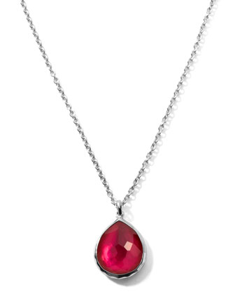 Raspberry Teardrop Pendant Necklace