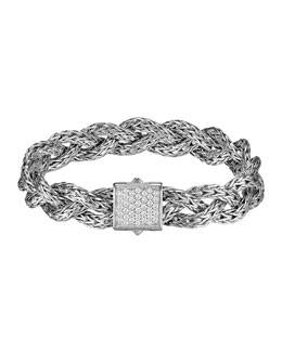 John Hardy Diamond Braided Chain Bracelet, Small