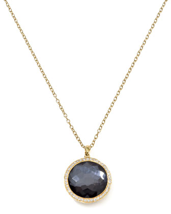 Diamond & Hematite Lollipop Pendant Necklace